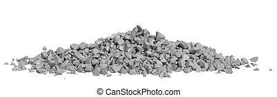 イメージ, レンダリングした, 瓦礫, 岩