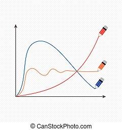 イメージ, 写実的, ベクトル, 経済, 定型