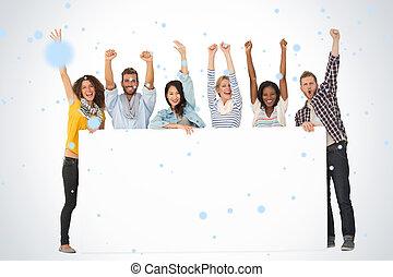 イメージ, 友人, 若い, 合成, 提示, 微笑, グループ, 大きい