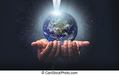 イメージ, 地球, ビジネスマン, 概念, 世界的である, nasa, concept., 接続, エネルギー, 供給される, 要素, 保有物, これ, セービング