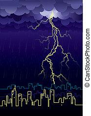 イメージ, 夜, city., 雨, 攻撃する, 大きい, 稲光
