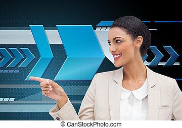 イメージ, 女性実業家, 指すこと, 合成, 微笑