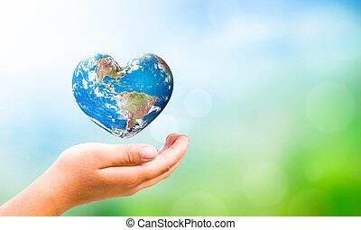 イメージ, 形, 要素, 把握, 背景, 心, 自然, 手, これ, nasa, 供給される, concept:, 日, 地球