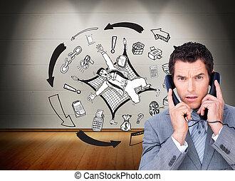 イメージ, 怒る, ビジネスマン, の上, 電話, 合成, ワイヤー, もつれ