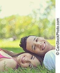 イメージ, 恋人, レトロ, 幸せ, 若い, 自然, 楽しむ