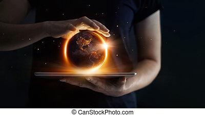 イメージ, 手, 保有物, 夜, 要素, 地球, day., あった, これ, セービング, nasa, 概念, 供給される, 人間, technology., エネルギー