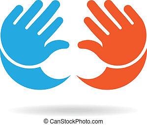 イメージ, 手, 女の子, 男の赤ん坊, ロゴ