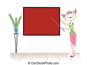 イメージ, 教師, board., ベクトル, 漫画