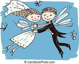 イメージ, 新婚者, ベクトル, 飛行, 妖精