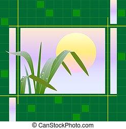 イメージ, 日の出, 草, 背景, 幾何学的