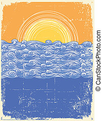 イメージ, 景色。, グランジ, 抽象的, イラスト, 海, ベクトル, waves.