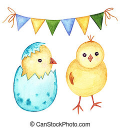 イメージ, 水彩画, 休日, 鶏, セット, flags., イラスト, 卵