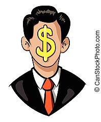 イメージ, 漫画, リーダーシップ, ビジネスマン, icon., シンボル