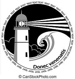 イメージ, 灯台, テキスト, 黒, label., グラフィック, ポスター