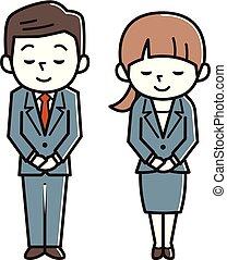 イメージ, 男性, ビジネスの女性たち, 若い, お辞儀