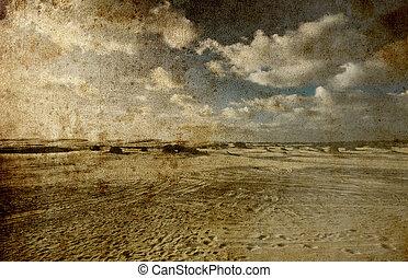 イメージ, 砂, グランジ, 青い空, 背景, 風景