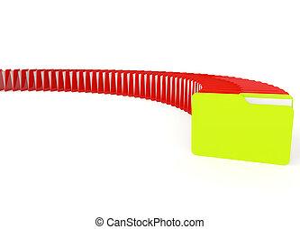 イメージ, 緑, ファイルフォルダー, 赤, 3d