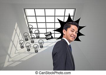 イメージ, 背景, 合成, 電球, グラフィック, 灰色, ライト