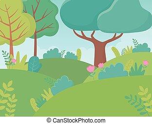 イメージ, 花, 群葉, 風景, 草木の栽培場, 木, 丘, 自然