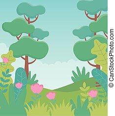 イメージ, 花, 群葉, 風景, 草木の栽培場, 草, 木, 自然