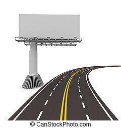 イメージ, 隔離された, billboard., asphalted, 道, 3d