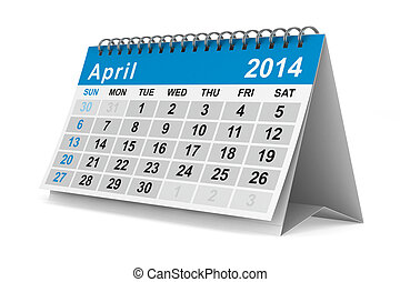 イメージ, 隔離された, calendar., april., 年, 2014, 3d