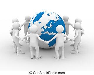 イメージ, 隔離された, teamwork., 概念, 白, 3d