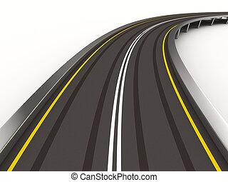 イメージ, 隔離された, white., asphalted, 道, 3d