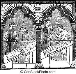 イメージ, 13番目, 世紀, 汚された, メーカー, engraving., chartres, 型, 大聖堂, ガラス, 後で
