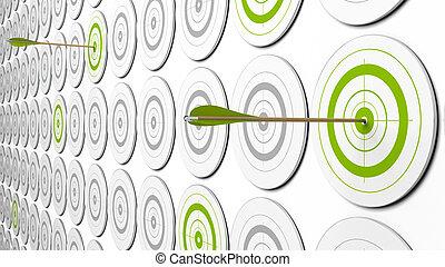 イメージ, around., これ, いくつか, 矢, 2, targets., 灰色, 緑, 見通し, 中心, ターゲット, 3d, ヒッティング, そこに