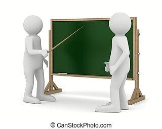 イメージ, blackboard., 隔離された, ポインター, 教師, 3d
