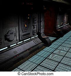 イメージ, bord, 背景, 廊下, spaceship., 暗い