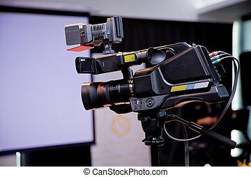 イメージ, conference., デジタル, 公表, 専門家, カメラ, mirrorless, マイクロフォン, 撮影, カメラ。, ビデオ, -, 出版物, でき事, 三脚, 録音