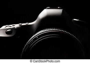イメージ, dslr, 専門家, キー, カメラ, 現代, 低い