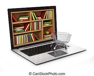 イメージ, library., インターネット, 概念, e 勉強, 教育, ∥あるいは∥