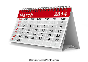 イメージ, march., 隔離された, calendar., 年, 2014, 3d