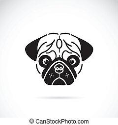 イメージ, pug's, 顔, ベクトル, 背景, 白
