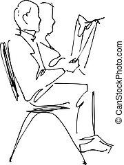 イメージ, r, 椅子, 人間が座る