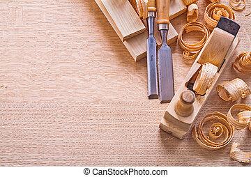 イメージ, shavings, c, 板, のみ, 飛行機, copsypace, 木製である, 大工仕事