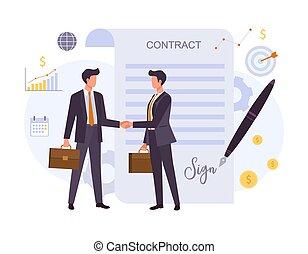 イラストビジネス, ベクトル, 契約, 合意, 平ら, カラフルである