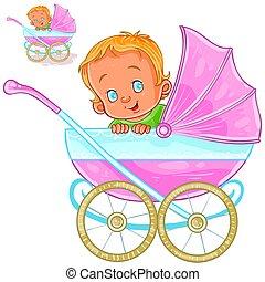 イラスト, うそ, ベクトル, 赤ん坊, ビュー。, 乳母車, 側, 微笑