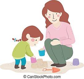 イラスト, お母さん, 子供, 砂の 城, 建造しなさい, 女の子