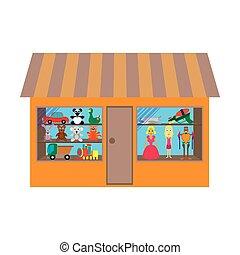 イラスト, の, おもちゃ, 店