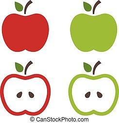 イラスト, の, りんご, .vector