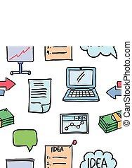 イラスト, の, ビジネス, オブジェクト, 様々, doodles