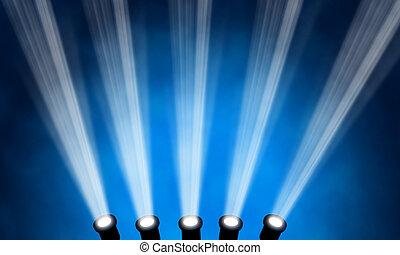 イラスト, の, 明るい, ステージ, スポットライト
