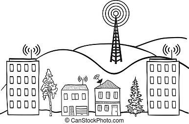 イラスト, の, 無線, シグナル, の, インターネット, に, 家, 中に, 都市