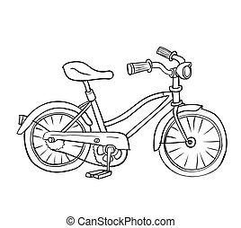 イラスト, の, 自転車, -, ベクトル, 手, 引かれる
