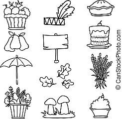 イラスト, の, 要素, 感謝祭, doodles