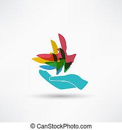イラスト, の, ∥, 鳩, 中に, 手